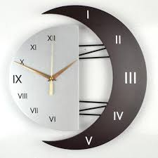 modern living room decorative creative wall clock star moon style wooden density board wall clock scan second movement s contemporary clock contemporary