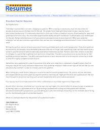 Cover Letter Sample Resume For Preschool Teacher Sample Resume For