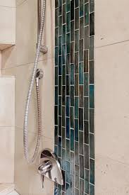 glass tile inset in shower