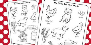 Small Picture The Little Red Hen Words Colouring Sheet little red hen colour