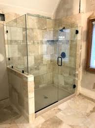 glass doors for bathrooms heavy glass door panel with degree return installed with channel and clamps glass doors for bathrooms