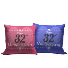 32nd marriage anniversary gift set of 2 printed cushion with filler