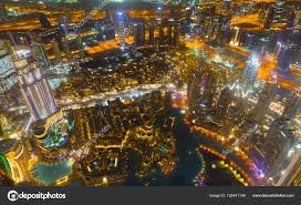 City Lights Video And Photography Dubai Downtown Night Scene With City Lights Stock