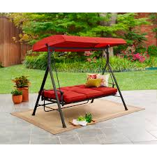 patio porch swing w canopy 3 person padded bed seating outdoor furniture red