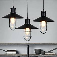rustic pendant lights vintage style lamps rounded metal lamp shade lighting linear suspension black color kitchen hanging pendant lights