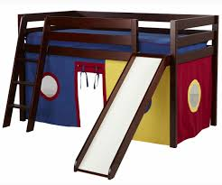 jackpot low loft bed with slide  curtains cherry  bed frames