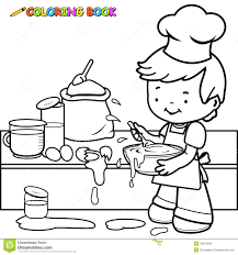 Small Picture Boy Cooking And Making A Mess Coloring Page Stock Vector Image
