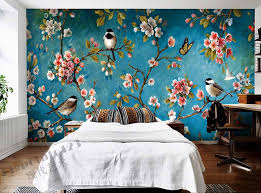 indoor wall mural wallpaper plum blossom peach apple blossom tree bird painting of flowers and free