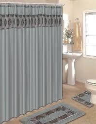 modern gray circles embroidered 15 pc bathroom shower curtain hooks bath rug set gray bathroom