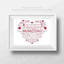 dels about personalised 40th ruby wedding anniversary word art print heart gift diamante
