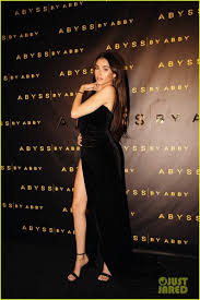 Madison Beer Black Velvet Strapless Dress With Slit Abyss By Abby Launch