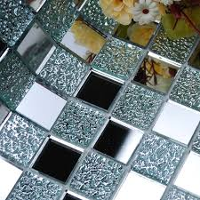 crystal glass backsplash kitchen tile mosaic design art mirrored wall stickers bathroom shower floor mirror tiles