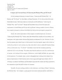 Compare Two People Essay Compare And Contrast Essay Of Labouring The Walmart Way And