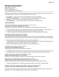Entry Level Qa Tester Resume Free Sample Resumes