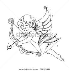 stock vector hand drawn cupid with bow and arrow vintage cupid angel cupid icon cupid with doodle angel on 372575644 cupid stock images, royalty free images & vectors shutterstock on arrow templates cute big