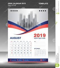 Calender Design Template August Desk Calendar 2019 Template Flyer Design Vector Blue Orange