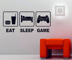 Game Room Wall Decor Eat Sleep Game Playstation Xbox Wii Decor Art Vinyl Wall Sticker