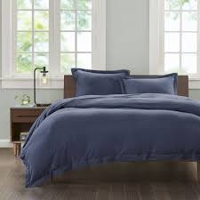 ink ivy jersey duvet cover full queen size navy solid color duvet cover set 3 piece 100 cotton light weight bed comforter covers
