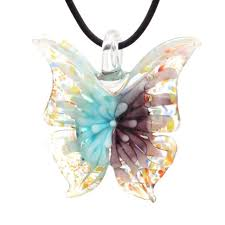 high quality murano inspired confetti lampwork glass erfly pendant necklace