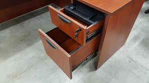 cherry l shape office desk with locking drawers