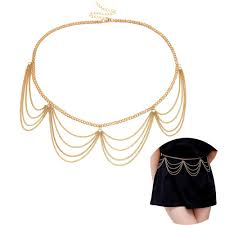 Gold Waist Chain Designs Jurxy Multilayer Alloy Waist Chain Body Chain For Women Golden Waist Belt Pendant Belly Chain Adjustable Body Harness For Jeans Dresses Gold Style 3