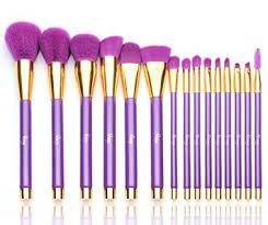 qivange makeup brush set professional foundation powder eyeshadow makeup brushes with cosmetic bag purple