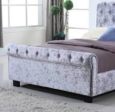 Ottoman Bedroom Whitford Side Ottoman Silver Crushed Velvet Bed Frame