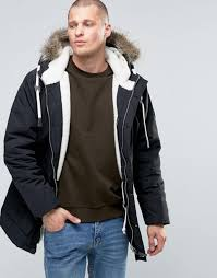 fat moose parka detatchable faux fur borg lined black men