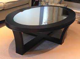 oval glass and wood coffee table style