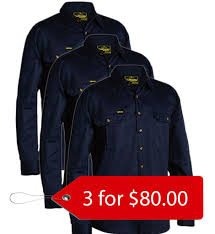 Bisley Size Chart Bisley Original Cotton Drill Shirt Long Sleeve 3 Pack