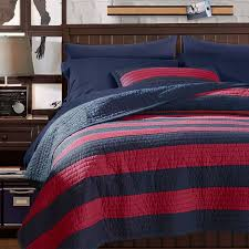 blue and red rugby stripe bedding design ideas