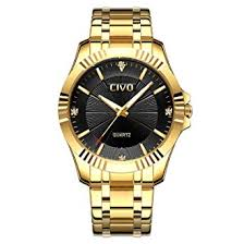 CIVO <b>Mens Golden</b> Watches with Stainless Steel Band <b>Luxury</b> ...
