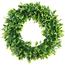 image is loading 1x artificial green leaves wreath 15 inch boxwood
