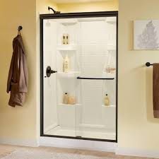 awesome bronze shower door delta simplicity 48 in x 70 semi frameless sliding