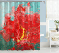 Abstract Shower Curtain Red Yellow Aqua Blue Green White
