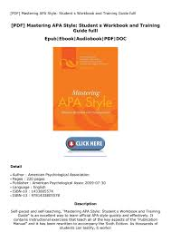 Pdf Mastering Apa Style Student S Workbook And Training Guide