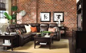 captivating brick wall decor of small living room with dark brown leather sectional recliners sofa and brown varnished rectangle pine wood coffee table bedroomcaptivating brown leather office chair home design