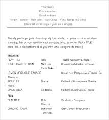 Musical Theater Resume Template Theatre Resume Template Professional ...