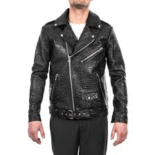 black crocodile leather biker jacket