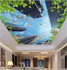 3d Plafond Muurposters Papier Hoge Gebouwen Dove Groene Bladeren