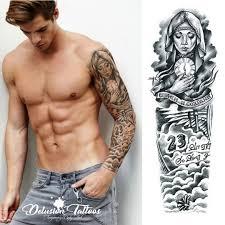 Realistic Temporary Tattoo Sleeve Arm Beckham Angel 23 Black