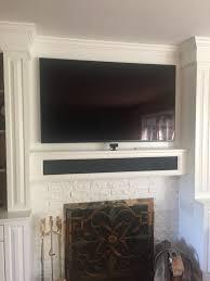 samsung ks9000 sound bar in custom fireplace