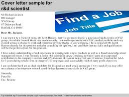 Job Cover Letters Inspiration Rd Scientist Cover Letter