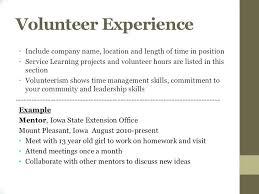 Listing Volunteer Work On Resume Resume Volunteer Experience Sample