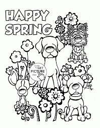 Cute Dogs And Spring Coloring Page For Kids Seasons Coloring Pages