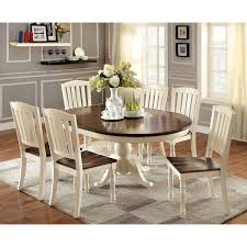 wood dining room chairs elegant furniture of america bethannie cote style 2 tone oval dining of