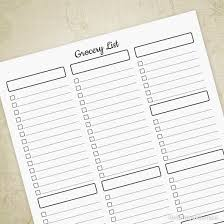 Grocer List Grocery List Printable Sheet