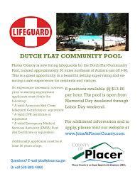 Job Posting Lifeguard Placer County