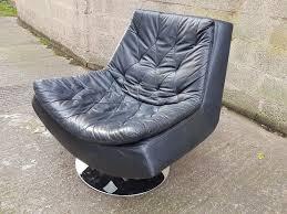 super designer black leather swivel chair heavy chrome base modern home apartment man cave decor use