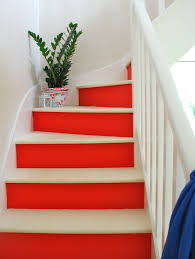 Red And White Painted Stairs So Inspired To Redo My Staircase Now - Painted basement stairs